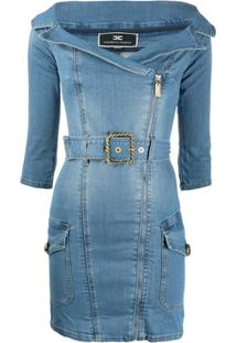Elisabetta Franchi Vestido Jeans Slim - Azul