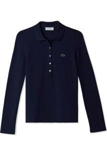 Camisa Manga Longa Lacoste Feminina - Feminino-Azul Navy
