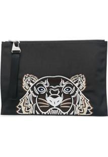 Kenzo Tiger-Motif Zipped Clutch Bag - Preto