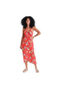 Vestido Midi Transpassado Flora - Vermelho - Líquido