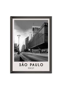 Quadro 65X45Cm Cidades Sáo Paulo Brasil Moldura Preta Com Vidro - Oppen House Decora