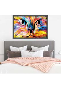 Quadro Love Decor Com Moldura Color Cat Grafitti Metalizado - Médio