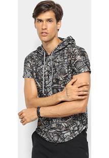 Camiseta Watkins & Krown Full Print Capuz Masculina - Masculino-Marrom