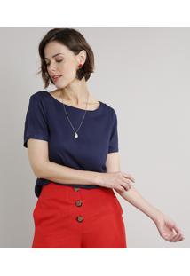 Blusa Feminina Ampla Manga Curta Decote Redondo Azul Marinho