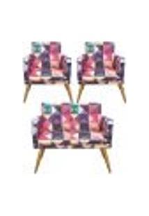 Conjunto Namoradeira Decorativa E 2 Poltronas Com Rodapé Triângulos - Bela Casa Shop