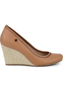 Sapato Anabela- Caramelo & Bege- Salto: 8Cmcravo & Canela