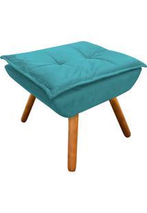 Puff Decorativo D'Rossi Opala Suede Azul Tiffany