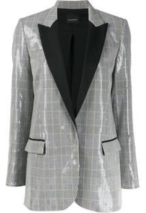 Pinko Blazer Com Estampa Xadrez E Paetês - Branco