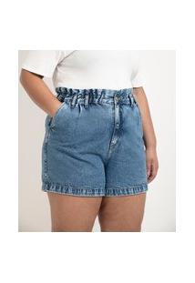 Short Mom Jeans Com Cós Clochard Curve & Plus Size