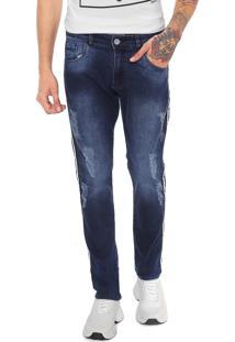 Calça Jeans Ride Skateboard Skinny Listras Laterais Azul