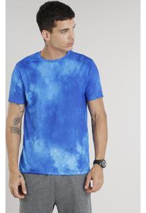 Camiseta Masculina Ace Estampada Manga Curta Decote Redondo Azul Royal