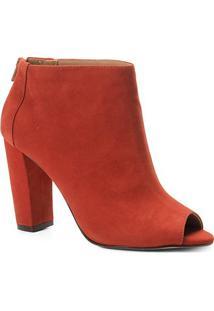 Sandália Couro Shoestock Nobuck Salto Grosso Feminina - Feminino-Caramelo