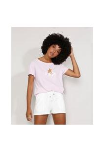 Camiseta Feminina Manga Curta Bambi Ampla Decote Redondo Lilás