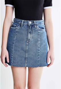 Saia Cintura Alta Em Jeans Com Barra Desfiada
