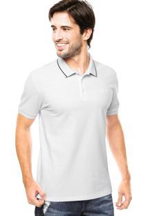 Camisa Polo Calvin Klein Silk Branca