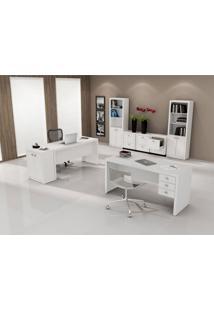 Mesa Para Escritório Com 3 Gav. Me-4113 Branca Tecno Mobili