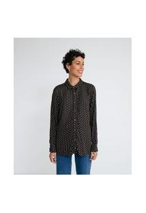 Camisa Manga Longa Estampa Geométrica | Marfinno | Preto | M