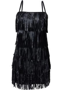 Vestido Franjas Valentine (Preto, 48)