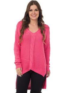 Blusa Pink Tricot Mullet Detalhes Trançados Feminino - Feminino-Rosa