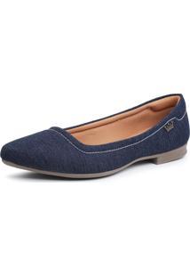 Sapatilha Rasteira Moleca Rasteirinha Confort - Azul Marinho/Jeans - Feminino - Dafiti