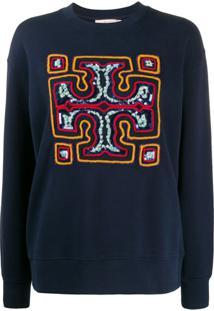 Tory Burch Suéter Com Logo Bordado Em Paetês - Azul