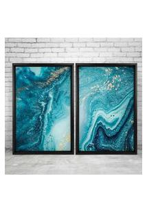 Quadro Love Decor Com Moldura Chanfrada Elemental Azul Preto - Grande