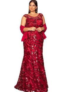 Vestido Almaria Plus Size Pianeta Festa Tule Vinho