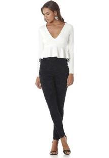 Blusa Serinah Cropped Decote V Com Babados Feminina - Feminino-Branco