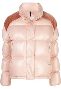 Moncler Contrast Panel Puffer Jacket - Rosa