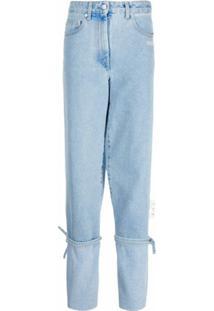 Off-White Calça Jeans Reta Com Detalhe De Amarração - Azul