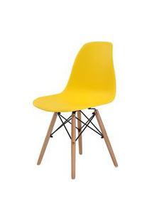 Cadeira Eames Eiffel Polipropileno Amarela Base Madeira - 44156 Preto
