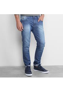 Calça Jeans Skinny Gangster Estonada Puídos Elastano Cintura Média Masculino - Masculino-Azul