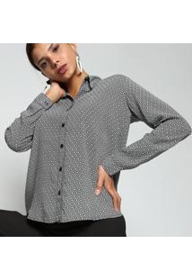 Camisa Geomã©Trica Com Pregas- Preta & Branca- Intensintens