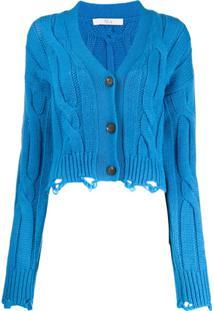 Tela Cardigan Com Detalhes Puídos - Azul