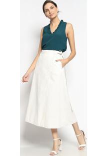 Blusa Lisa Com Babados- Verde Escuroenna