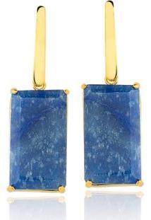 Brinco Toque De Joia Haste Quartzo Azul - Feminino-Dourado