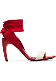Proenza Schouler Sandália 90 Vermelha De Couro Red 90 Com Amarração - Vermelho