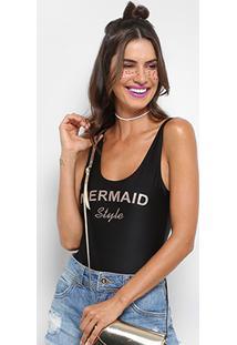 Body Clássico Jkm Mermaid Com Glitter - Feminino-Preto+Bronze