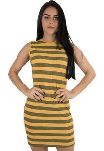 Vestido Curto Listrado Linha Noite Amarelo