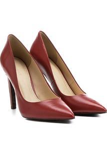 Scarpin Couro Shoestock Salto Alto Animal Print - Feminino-Vermelho