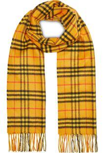 Burberry Cachecol 'The Classic Vintage Check' De Cashmere - Amarelo