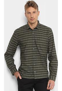 Camisa Xadrez Lacoste Listras Bolso Regular Fit Masculina - Masculino-Verde