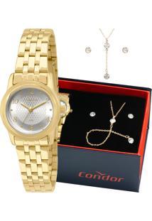 Kit Relógio Condor Feminino Com Colar E Brincos Co2035Kpe/K4K