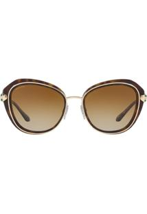 Bulgari Gold Detail Round Frame Sunglasses - Marrom