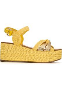Casadei Sandália Com Salto Anabela - Amarelo