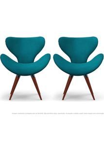Kit De 02 Poltronas Decorativas Cadeiras Egg Azul Turquesa Com Base Fixa De Madeira