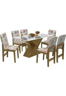 Conjunto De Mesa Com 6 Cadeiras Com Tampo Mdf Viena-Dobuê - Mel / Off / Vermelho Floral