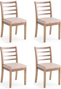 Conjunto Com 4 Cadeiras De Jantar Capri Marrom Claro E Imbuia
