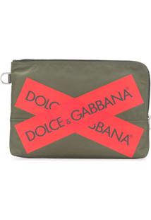 Dolce & Gabbana Clutch Com Logo - Verde
