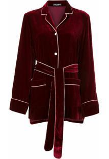 Dolce & Gabbana Blusa De Veludo Com Cinto - Vermelho